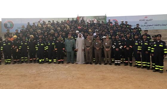 """بالصور.. """" البحث والإنقاذ """" السعودي والإماراتي ينفذان فرضية تحاكي وقوع كارثة زلزال بالرياض"""