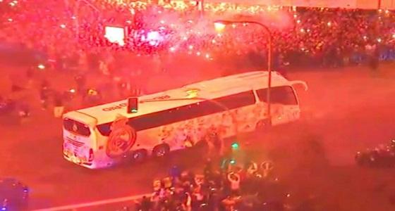 بالصور.. استقبال حاشد لحافلة ريال مدريد