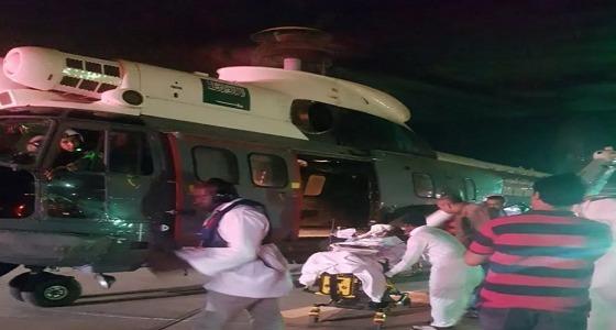 طيران الإخلاء الطبي ينقل حالة حرجة إلى مشفى الأمير محمد بن ناصر
