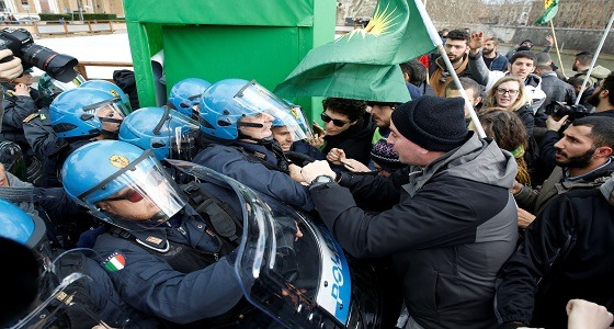 اندلاع احتجاجات في روما رافضة لزيارة أردوغان