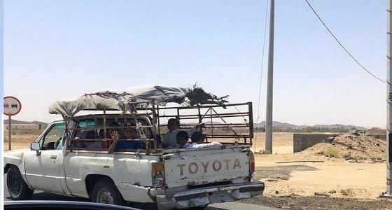 مواطن يوثق لحظة نقل الطلاب في سيارة مكشوفة