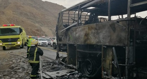 """اندلاع حريق في حافلة نقل جماعي تابع لشركة """" سابتكو """""""