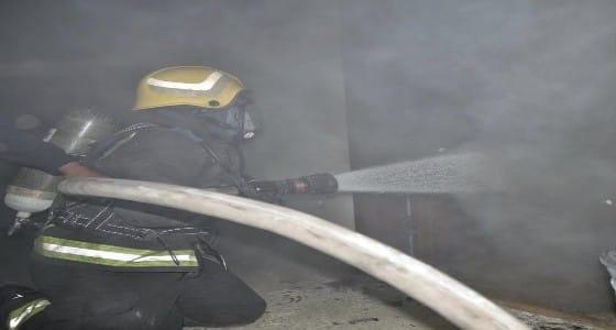 بالصور.. إصابة شخصين باختناق في حريق عمارة سكنية بحائل