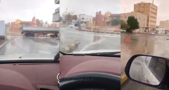 بالفيديو.. هطول أمطار غزيرة على حائل