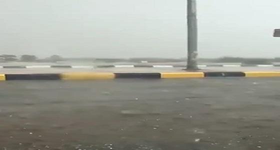 بالفيديو.. لحظة هطول أمطار غزيرة على الخرمة