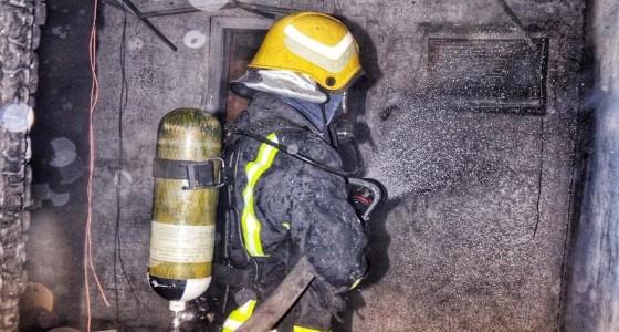 إصابة شخص في حريق شقة بالطائف