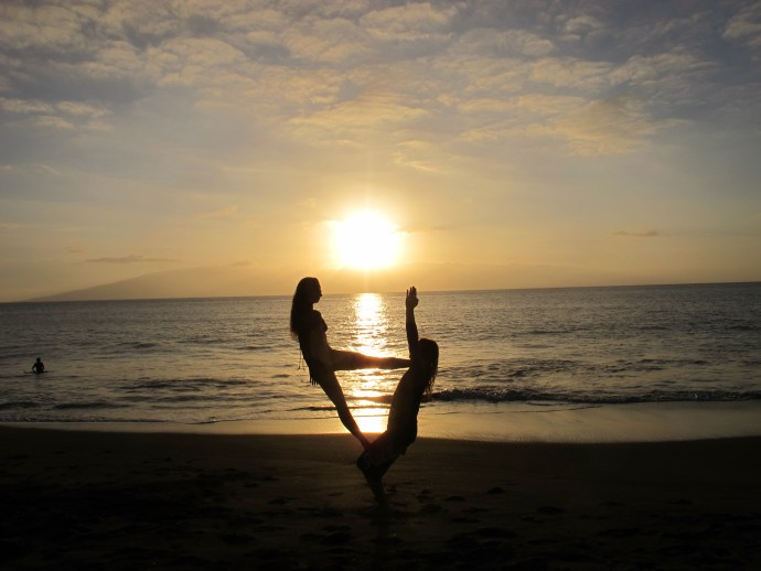 trust acroyoga beach sunset