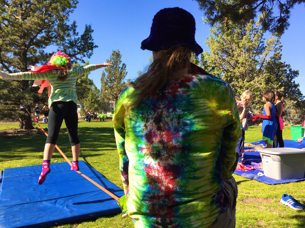 slacklining with kids boys and girls club birthday slackline how to