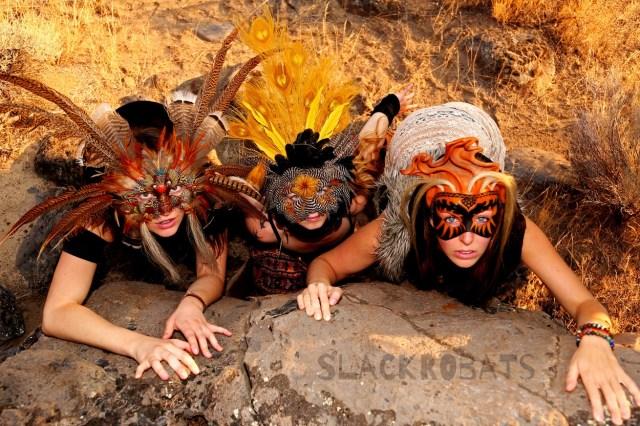 we all wear masks slackrobats slackline acroyoga yoga bend oregon lindsay cathcart buddy thomas lindsikay lindsi cagan