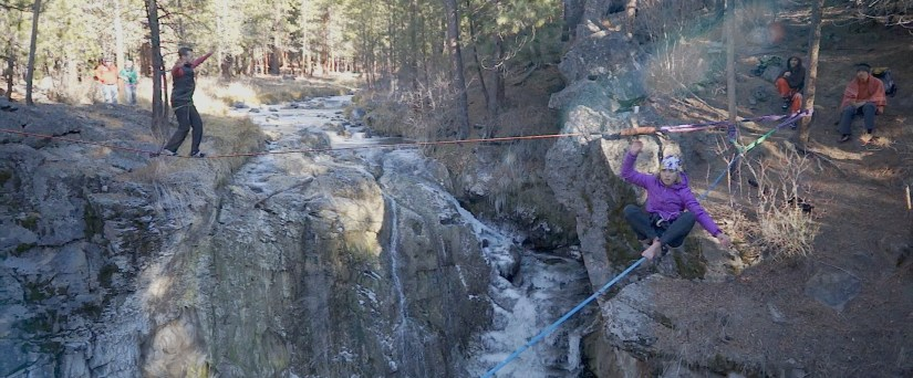 highlining with the yogaslackers in oregon mckay falls lower fishbowl buddy thomas drone video slacklining