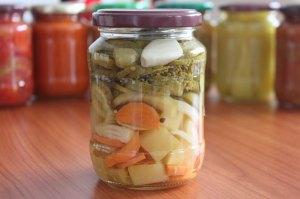 zaváraná tekvica, zeleninový mix, nálev