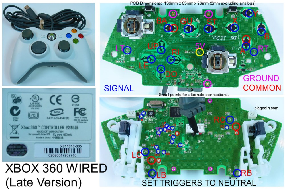 medium resolution of joystick controller pcb and wiring xbox 360 wired controller wiring diagram xbox one elite controller wiring diagram