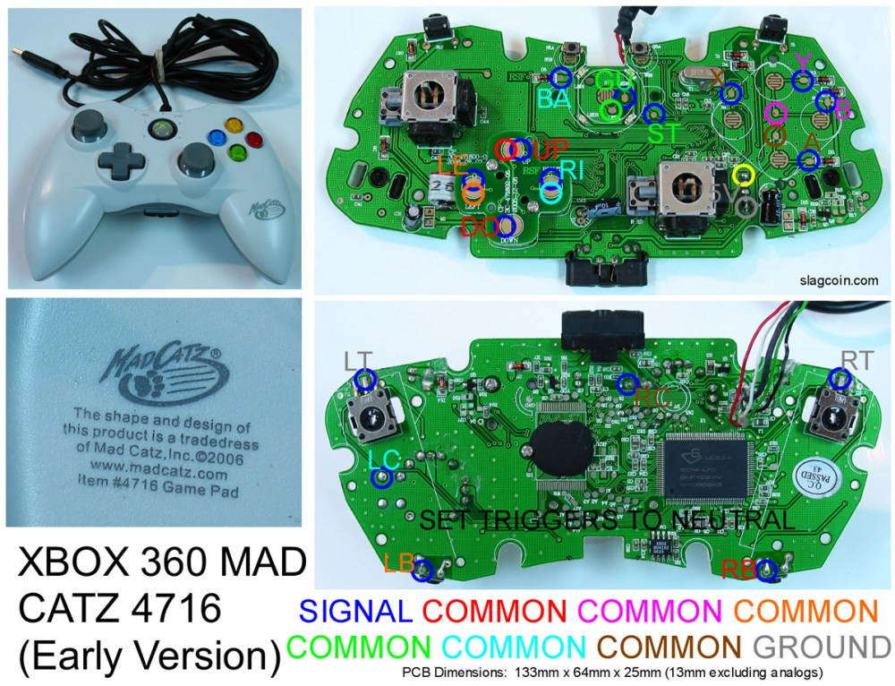 medium resolution of joystick controller pcb and wiring xbox 360 controller wiring diagram xbox controller to usb wiring diagram