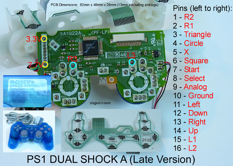 double outlet wiring diagram square d hand off auto switch joystick controller pcb and playstation 1 dual shock a late version