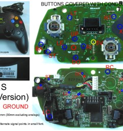 gaming gadgets and mods xbox 360 and original xbox controller pcb diagrams  [ 1144 x 819 Pixel ]