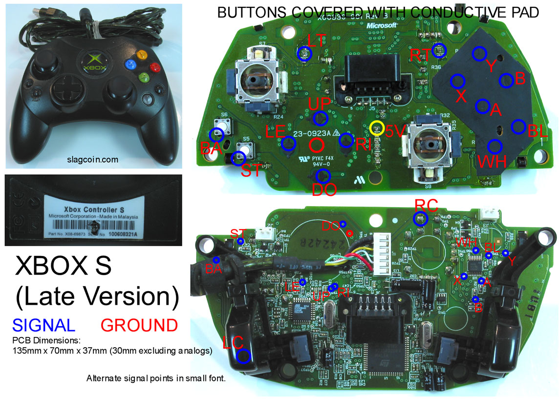 hight resolution of gaming gadgets and mods xbox 360 and original xbox controller pcb diagrams
