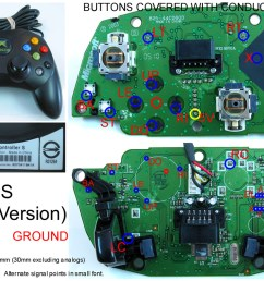 xbox 360 and original xbox controller pcb diagrams for mods or making your own joystick [ 1140 x 806 Pixel ]