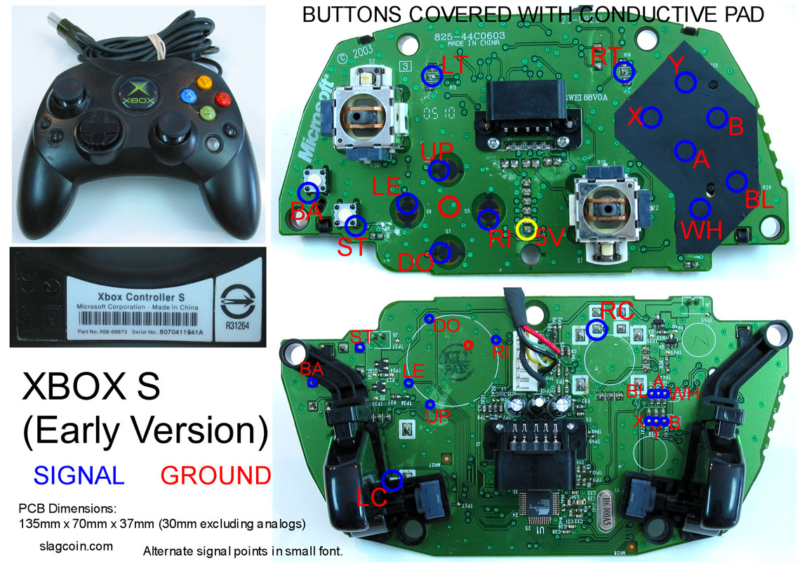 hight resolution of xbox 360 and original xbox controller pcb diagrams for mods or making your own joystick