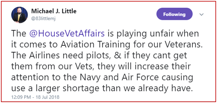 House Veterans Affairs tweet by Michael Little