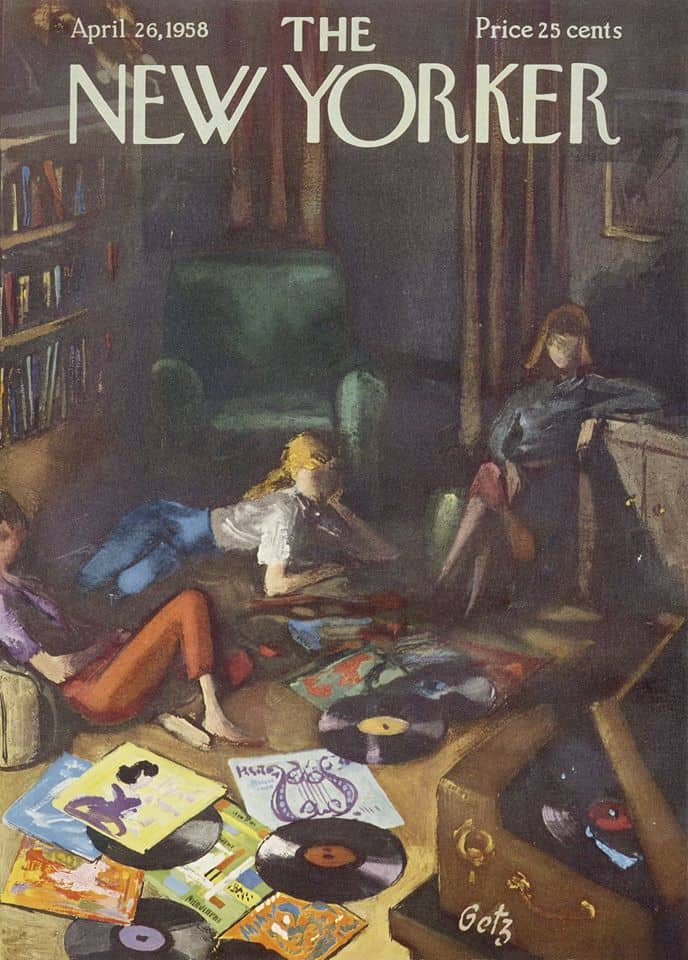 by Arthur Getz (1913-1996) The New Yorker cover April 26, 1958 teens records music