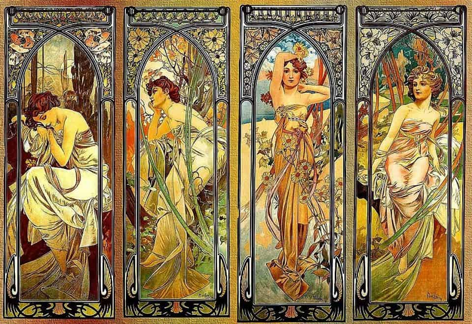 Times of the day, Alphonse Mucha, 1900