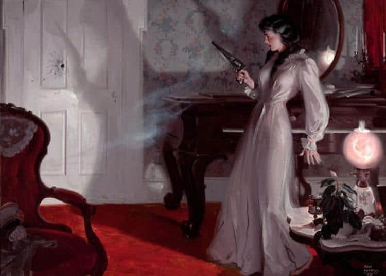 Illustration by Tom Lovell for a 1942 magazine. woman has fired a colt gun