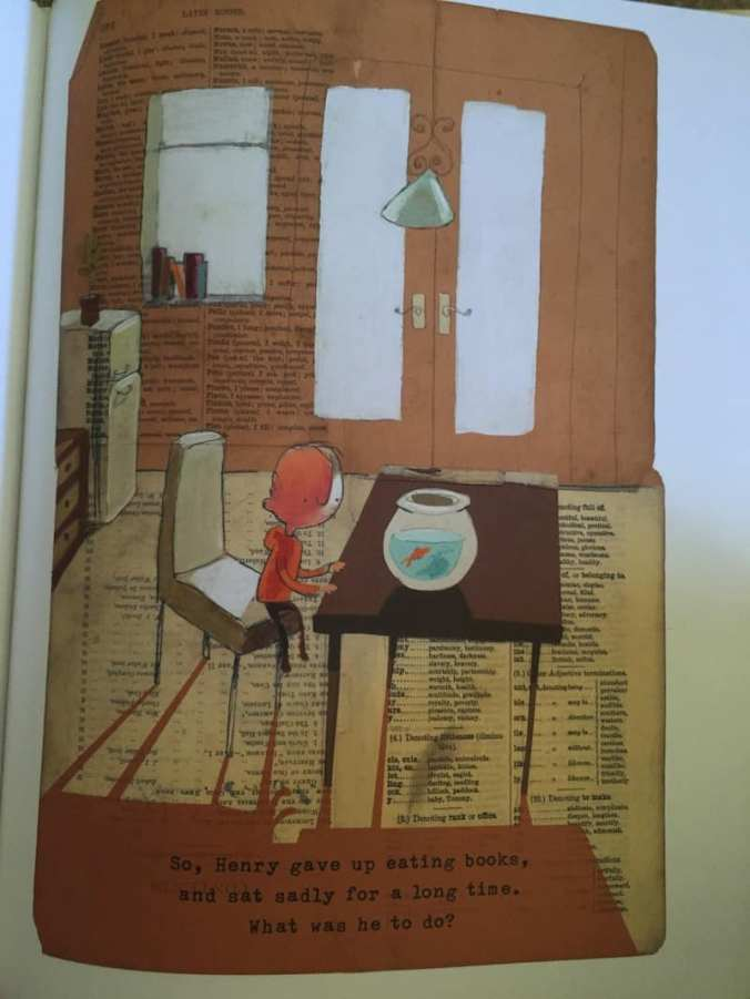 The intersecting lines of the room as well as the shadows of the table and chairs seem to trap the Incredible Book Eating Boy behind bars.