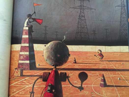 In Rules of Summer, Shaun Tan gives the umpire the artificial control but primal control belongs to that weird whatzathing.