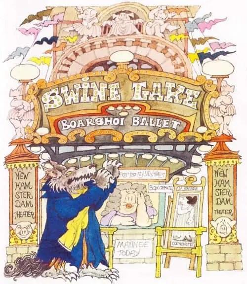 Swine Lake puns intratext