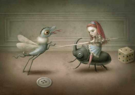 a surreal painting of a girl riding a beetle and a combination animal