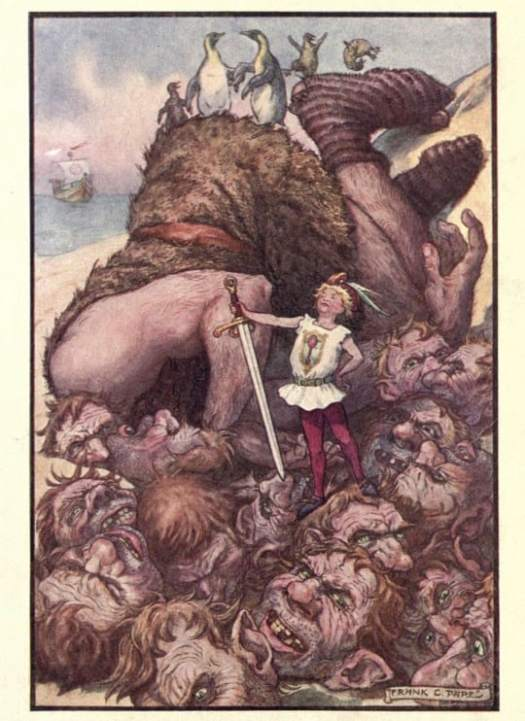 "The Diamond Fairy Book. c.1898. Frank Papé. LILLKORT - ""Lillekort with his magic sword struck off the fifteen heads at one blow """