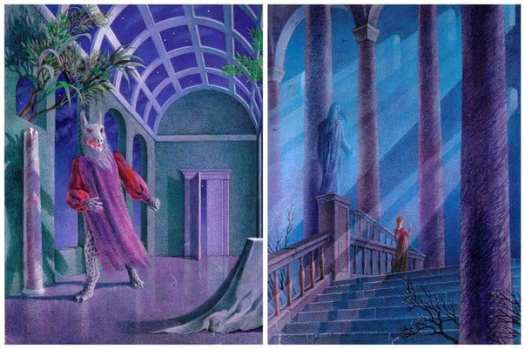 The atrium with its glass ceiling gives the characters a direct view of the Heavens. The stairway symbolises Beauty's ascent to Heaven. That's where she thinks she's going, after all.