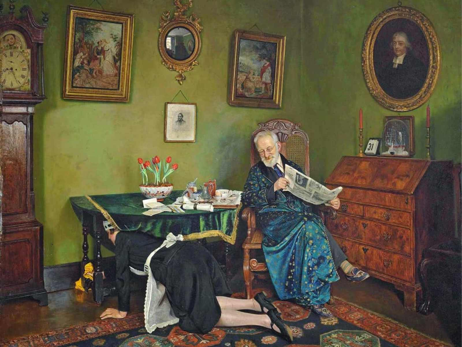 Charles Spencelayh - She Stoops to Conquer