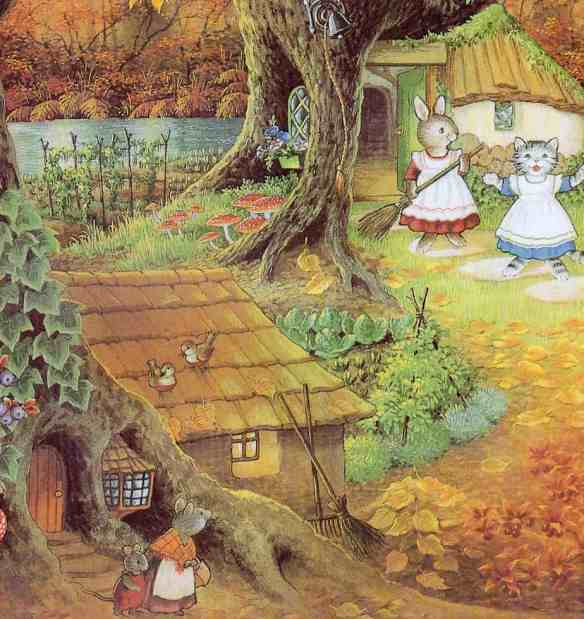 Note the grassy roof. Illustration from Martha B. Rabbit and the Unexpected Guests by Shirley Barber, an expert in hygge