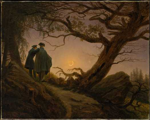 Two Men Contemplating The Moon by Caspar David Friedrich makes me think one of them is telling the other a solioquy, or some other old-fashioned narrative device.