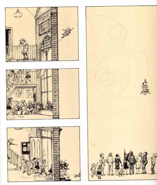 Sequential narrative in Up and Up by Shirley Hughes
