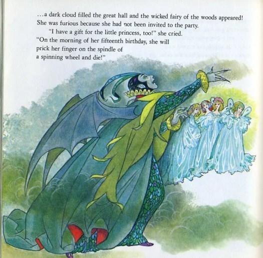 Sleeping Beauty grey green witch