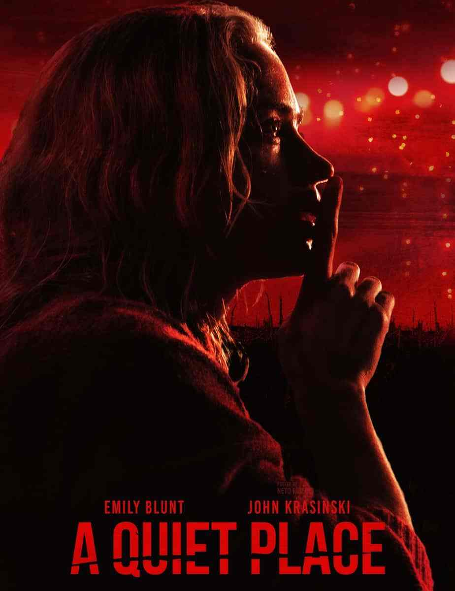 A Quiet Place movie poster Emily blunt with finger to lips