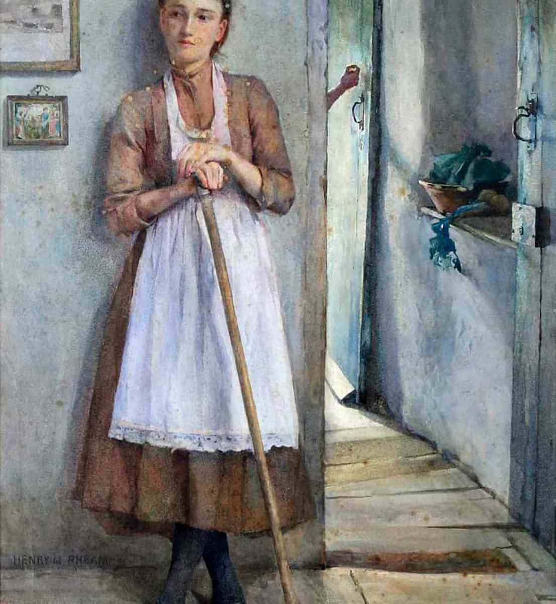 Henry Meynell Rheam - A Maid Sweeping