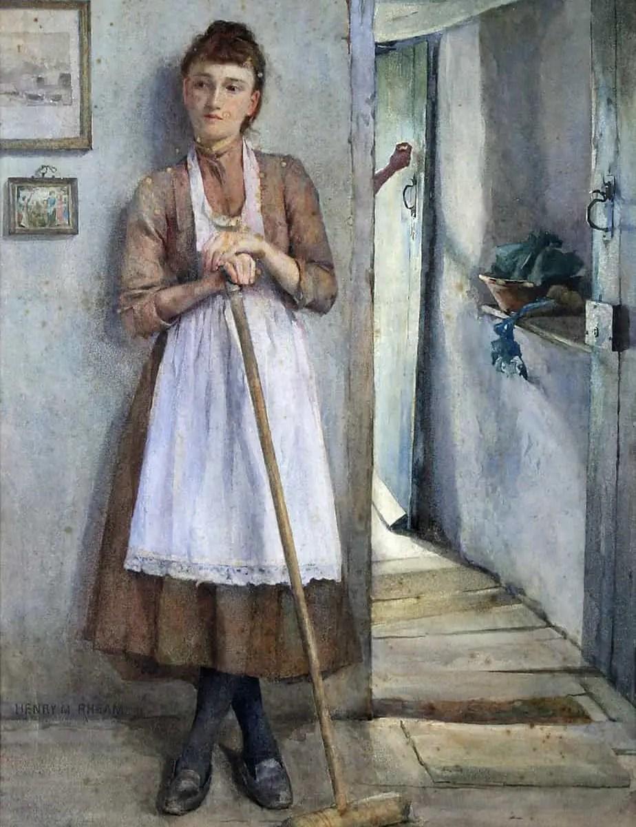 Henry Meynell Rheam - A Maid Sweeping