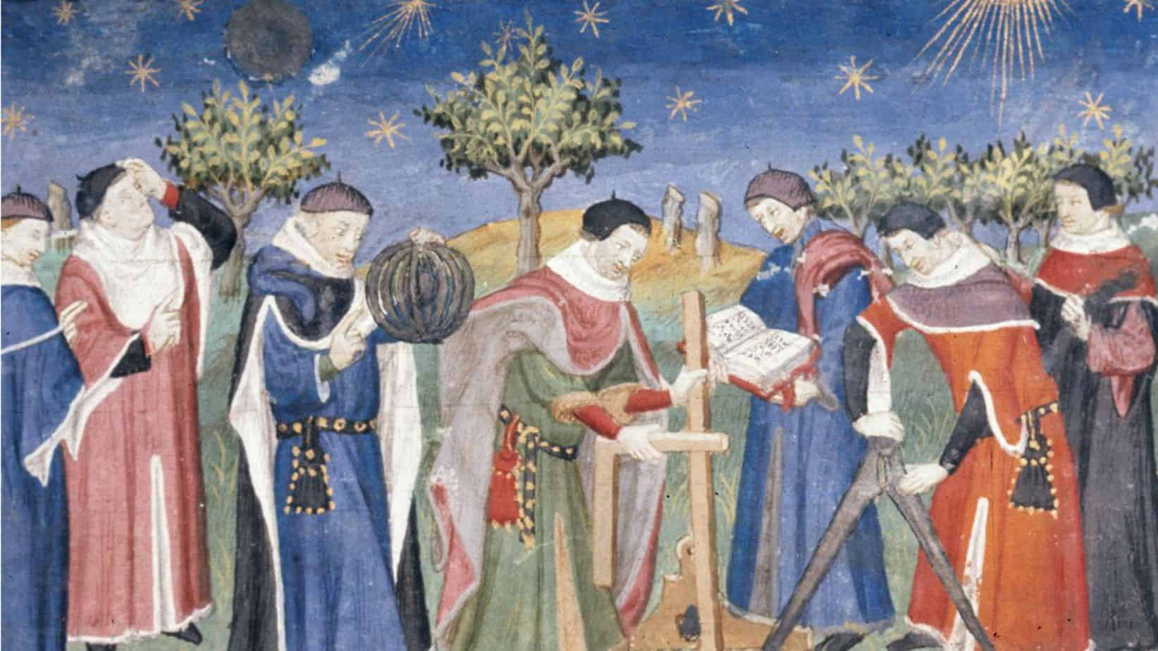 Landscape with Clerks Studying Astronomy and Geometry from the early 15th century