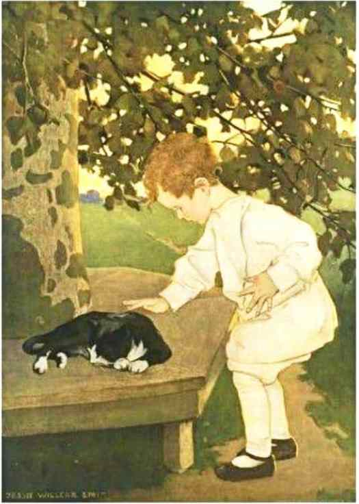 """An illustration of a young child petting a cat for """"Touching"""" from the book """"The Five Senses"""" written by Angela M. Keyes, illustrated by Jessie Willcox Smith 1911"""