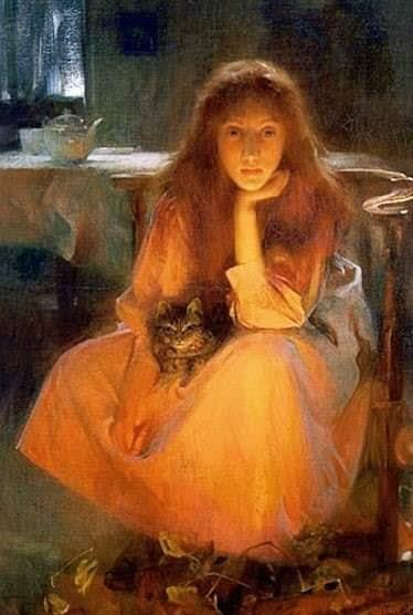 Arthur Hacker (English, 1858 - 1919). A significant proportion of home lighting in pre-electric times would have come from the fireplace.