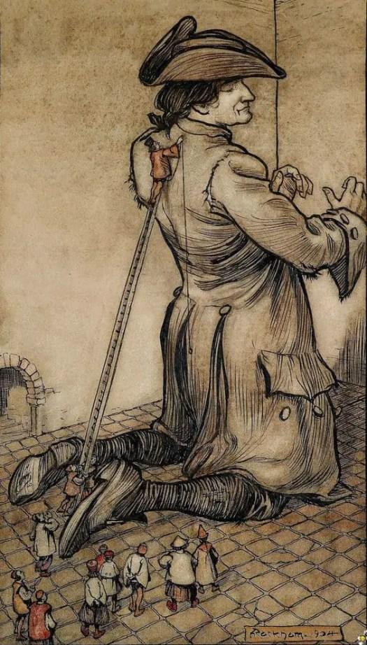 Arthur Rackham (1867-1939), British artist. Gulliver's Travels, 1904 giant