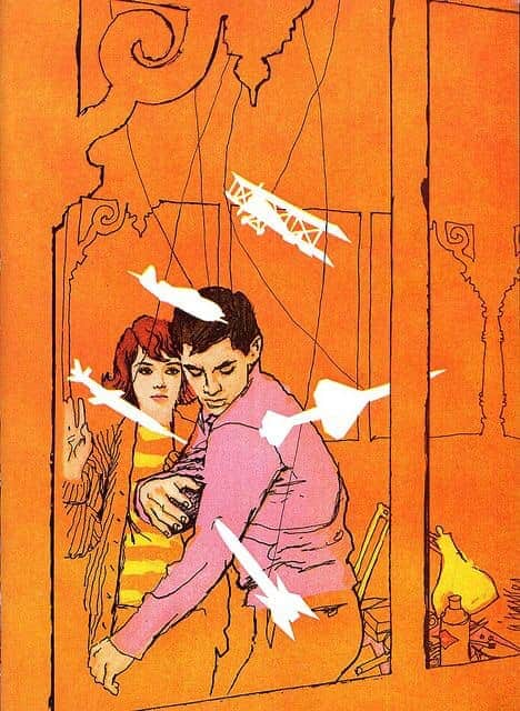 A man swats at a variety of weapons and a plane that only he can see. Appeared in Cosmopolitan Magazine May 1962, illustrated by Al Parker (1906 - 1985) who was an American artist and illustrator. The art style is colour field painting inspired by European modernism or we might call it abstract expressionism combined with Vanishing Style.