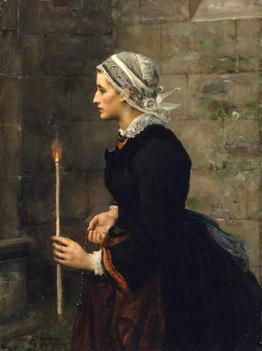 Jules Adolphe Aimé Louis Breton (French, 1827 – 1906) Woman with a Taper 1873. A taper is a slender candle.