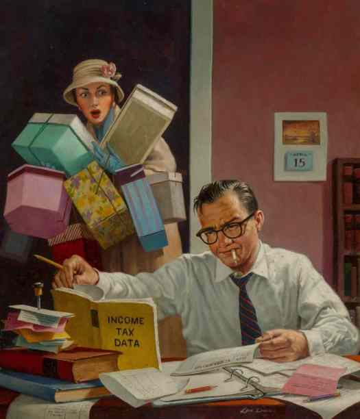 Tax Day by Kenneth Southworth Davies (1925-2017) Oil on Canvas, when women weren't allowed credit cards
