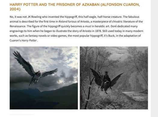 The hippogriff was inspired by the art of Gustave Doré