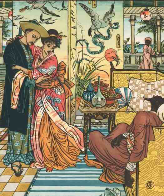 "Walter Crane (1845 - 1915) 1875 ""Death of the Magician"" illustration for his own book ""Aladdin and the Wonderful Lamp"""
