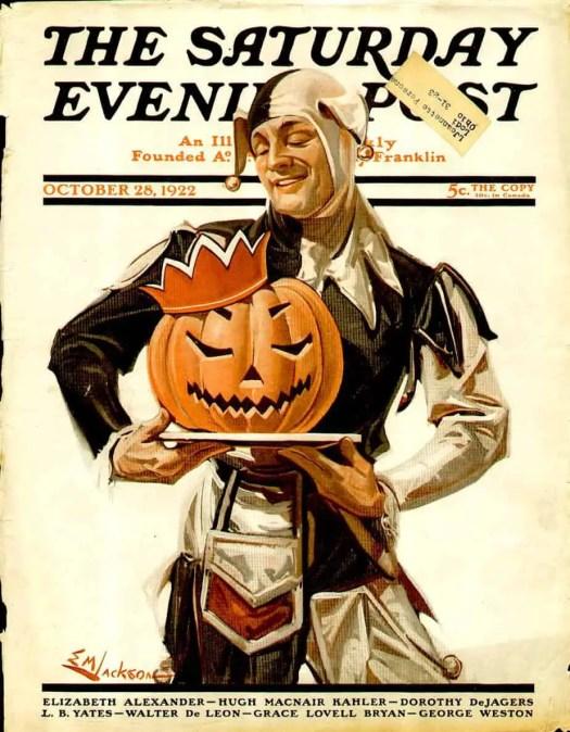 1922 Vintage Ad Cover- Jester with Pumpkin. E.M. Jackson, illustrator